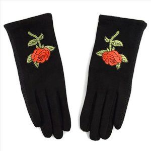 ULTRA-SUEDE GLOVES W/EMBROIDED ROSE